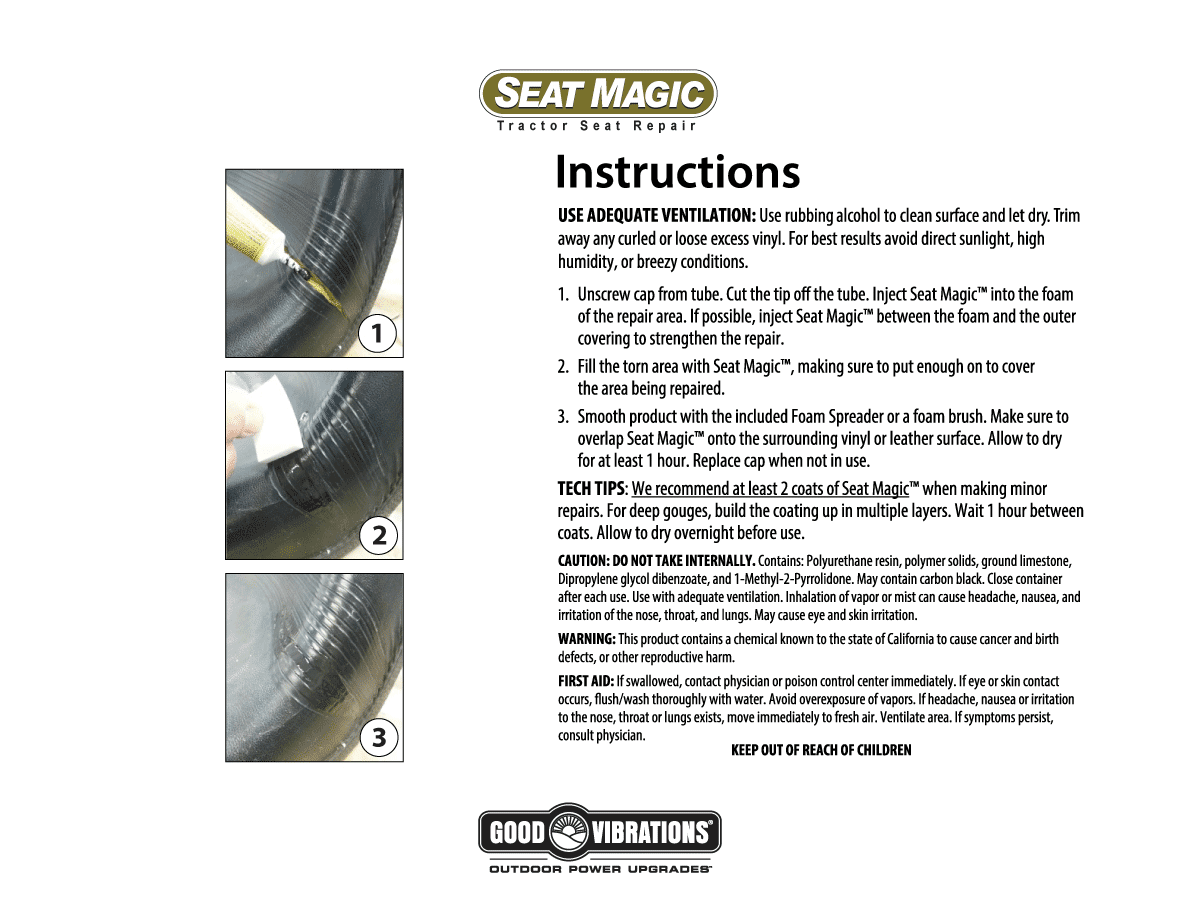 Seat Magic Tractor Seat Repair Instructions